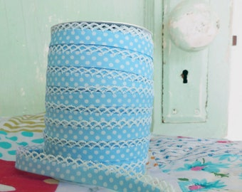 Baby Blue Polka Dot Double Fold Crochet Edge Bias Tape (No. 16).  Bias Tape by the yard.  Sewing Supplies.  Quilt Binding
