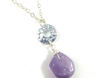 Amethyst Necklace, Amethyst Pendant Necklace, Raw Amethyst Necklaces for Women, Boho Jewelry, Amethyst Jewelry, Amethyst Mothers Day Gift