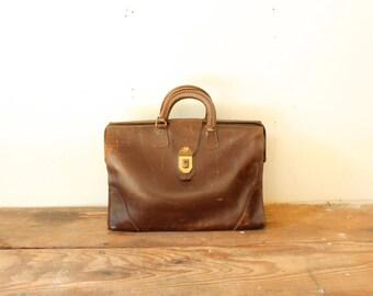 Rustic Cow Hide Leather Briefcase Vintage Attache Case C.H. Ellis Company Indianapolis Indiana