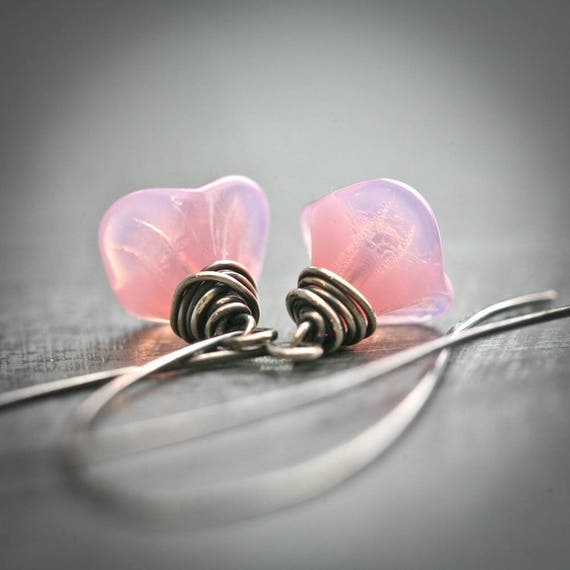 Spring Lily - Wire Wrapped Pink Opalite Glass Flower Long Sterling Silver Earrings
