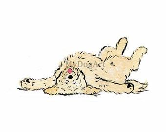 "Whimsical cream goldendoodle ""I'm DONE"" print 5x7"
