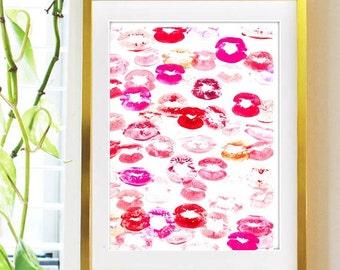 Smooch, Print from Original Piece, Office Decor, Lip art, Pink Lipstick