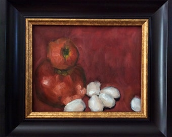 Omelette (Eggs with Tomatoes)Red and White Small Still Life Oil Painting by Velma Serrano
