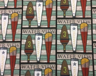 Nautical Fabric Oars Cotton By The Yard 36 Inches Long