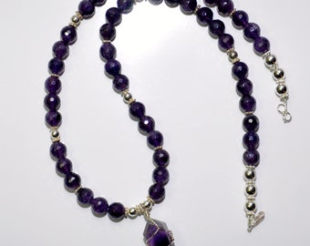 Amethyst & Sterling Necklace and Earrings #133