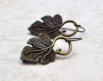 Dangle Leaf Earrings Statement Long Dangle Pretty Earring Fashion Jewelry Christmas Gift for Women Her Mom Wife Stocking Stuffer Nature Chic