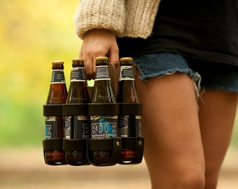 "Leather Beer Holder - The ""Spartan Carton"" - Leather and Wood 6-Pack Beer Carrier"