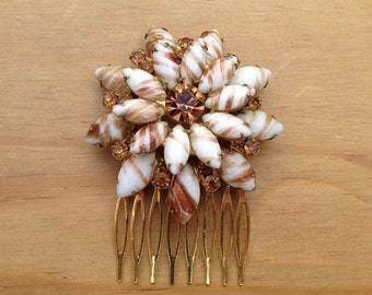 Venetian Glass Vintage Hair Comb: Vintage Clear and Amber Diamanté and Glass Bridal Wedding Comb