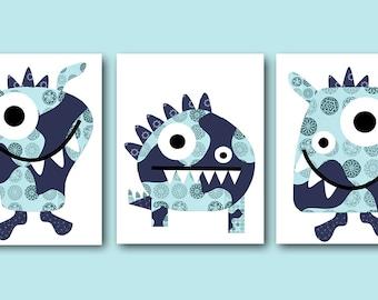 INSTANT Monster DOWNLOAD Print Baby Nursery Decor Digital Art Baby Boy Nursery Art Printable Art Digital Download Art Set of 3 8x10 11X14