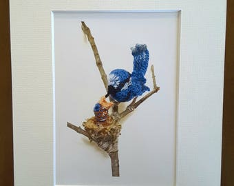 Splendid Blue Wren and Hatchling Print. Original photo of handcrafted fibre art sculpture, complete with mat ready to frame.