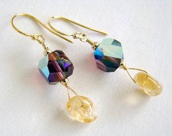 Afternoon Tea Earrings, Purple Swarovski Crystal Earrings, Citrine Earrings, Gold Drop Earrings, Boho Jewelry
