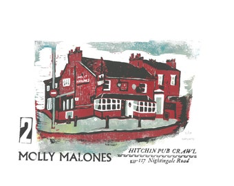 Hitchin Pub Crawl - Molly Malones - Lino and Letterpress Print- Poster