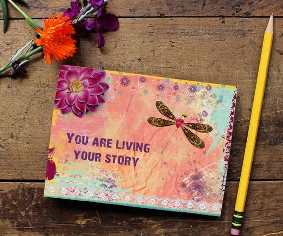 Dragonfly Journal -Handmade Notebook - Blank Journal - Quote Art Notebook  - Writing journal - Sketchbook