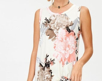 Floral Sleeveless Top With Knot Detail