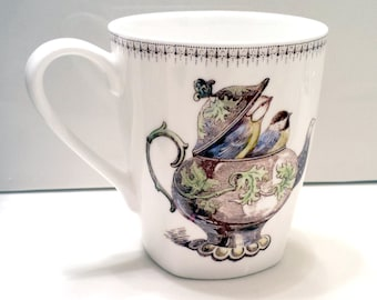 Coffee Mug Cup Chocolate Tea Chicadee Birds in a Teapot Sepia Porcelain China Poem Hand Painted Kiln Fired Vintage Style