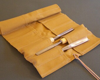 16 Pocket Workwear Tan Canvas Tool Rolls in 3 Sizes