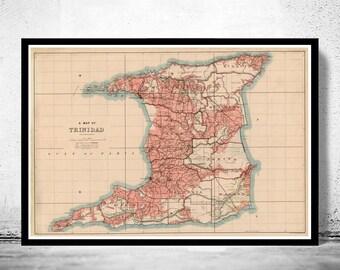 Old Map of Trinidad Tobago 1918
