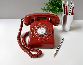 Rotary phone; red rotary phone; working rotary telephone; red retro phone; rotary dial desk phone