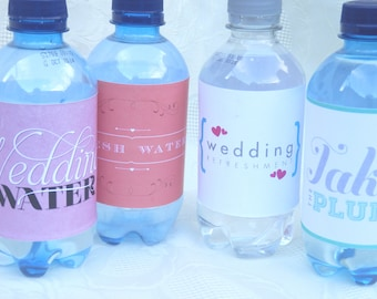 Wedding favors. Wedding favours. 50 Wedding water labels. Wedding drinks labels. Unique ideas for your Wedding. Wedding water labels.