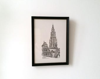 Vintage wood framed drawing Antwerp, Belgium * signed art * pencil drawing * vintage wall art * European art