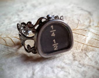OVERSTOCK SALE! Fractions or Functions on Filigree - Authentic Antique Typewriter Key Rings Adjustable