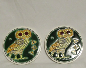 Coasters, Owls, Set of Two, Ceramic, 1970's