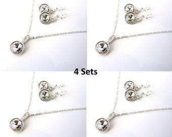 Bridesmaid Jewelry Set of 4, Bridesmaid Gift, Bridesmaid Gift Jewelry, Bridesmaid Necklace & Earring Set, Wedding Jewelry, I Do Crew Gifts