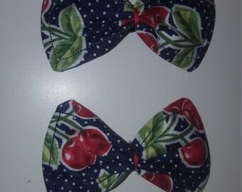 Polka dot /cherry/ retro / rockabilly / pin-up/  style hair bow