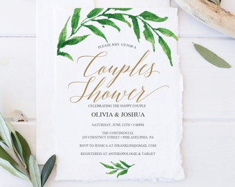 Couples Shower Invitation -  Greenery Couples Shower Invite - Couples Shower Template - Printable - Editable Invite - Instant Download