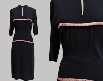 1940s Howard Greer Black Rayon Dress with Measuring Tape Detail