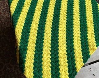 no. 10 Crocheted lap afghan in greens and yellows