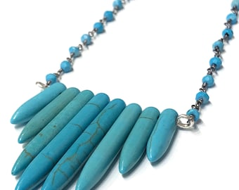 Turquoise Spike necklace, Turquoise dyed Howlite spikes, with Turquoise wire wrapped silver chain, blue necklace (N128)