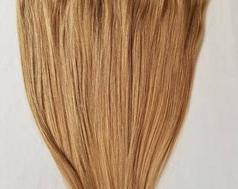 "20"" Weft Hair, 100grs,Weft Weaving (Without Clips),100% Human Hair Extensions #16 Honey Blonde"