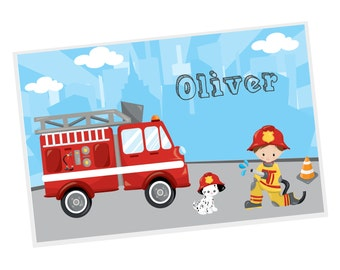 Firefighter Personalized Placemat - Firefighter Fire Truck Sky Road with Name, Customized Laminated Placemat