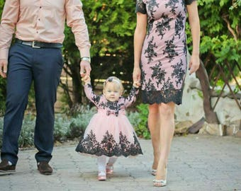 Mother daughter matching dresses, Mommy and me black and pink lace dresses  matching outfits, Tight knee length lace dress Pink Tutu dress