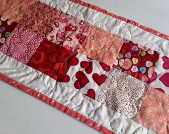 Hearts Decor, Table Runner, Gift For Her, Quilted Runner, Romantic Runner