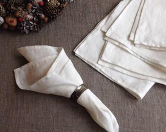 White Linen Napkins, Set of 12 Cloth Napkins, Wedding Napkins, Stonewashed Linen Napkins, Cloth Dining Napkins, Large Napkins