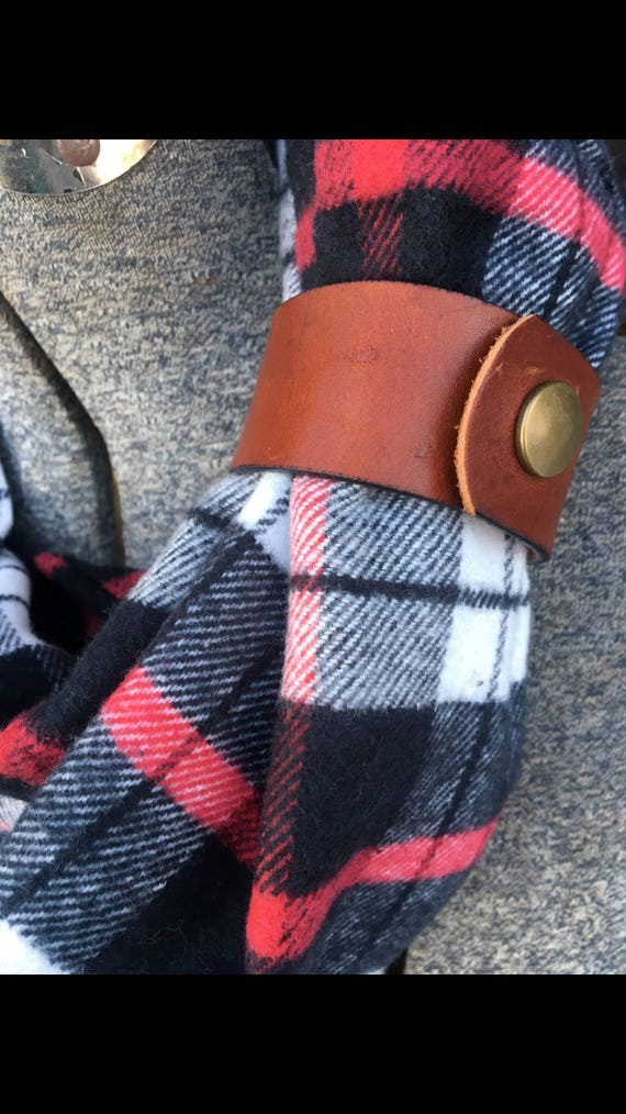 Red, black and white plaid flannel eternity scarf with a brown leather cuff - soft, trendy