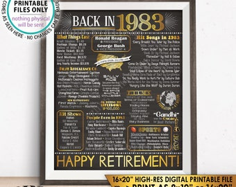 """Retirement Party Decorations, Back in 1983 Poster, Flashback to 1983 Retirement Party Decor, Chalkboard Style PRINTABLE 16x20"""" Sign <ID>"""