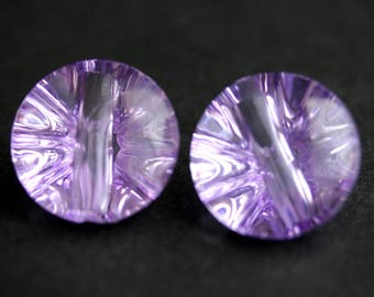 Two (2) Purple Buttons. Puffy Round Buttons. Clear Acrylic Buttons. Clear Purple Plastic Buttons. 22mm