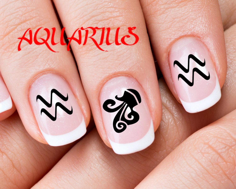 30 AQUARIUS Nail Art ZAQ Zodiac Astrology Symbols AQUARIUS