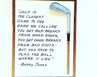 "Reclaimed Wood Golf Plaque- Bobby Jones- Larger 11"" x 14"" size"