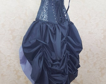 Black Full Length Tie Bustle Skirt-One Size Fits All