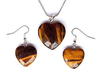 Beautiful tiger eye necklace and earring set, Tiger eye gem stone hearts and rounds.