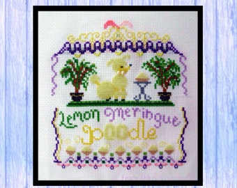 Lemon Meringue Poodle, Cross Stitch Chart, Instant PDF Download, Original Design