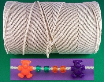 """1400 ft. Natural Cotton Cord Rope 1/8"""" Not Bleached and No Unknown Fiber Blends, Macrame, Nautical Knots, Bracelets, Pony Bead Bird Toys"""