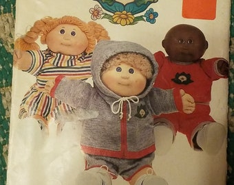 Vintage 1980s Butterick 6511 Sewing Pattern Cabbage Patch Kids Clothes T Shirt Shorts Sweat Shirt Sweat Pats UNCUT