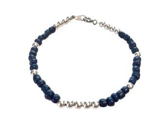 Navy and silver bracelet