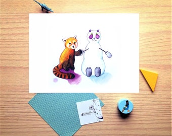 The red panda, snowman friend, watercolor, illustration, winter, baby gift, wish card, Christmas, nursery decor, print, wall decor