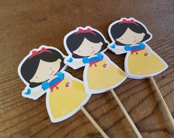 Princess Party - Set of 12 Snow White Cupcake Toppers by The Birthday House